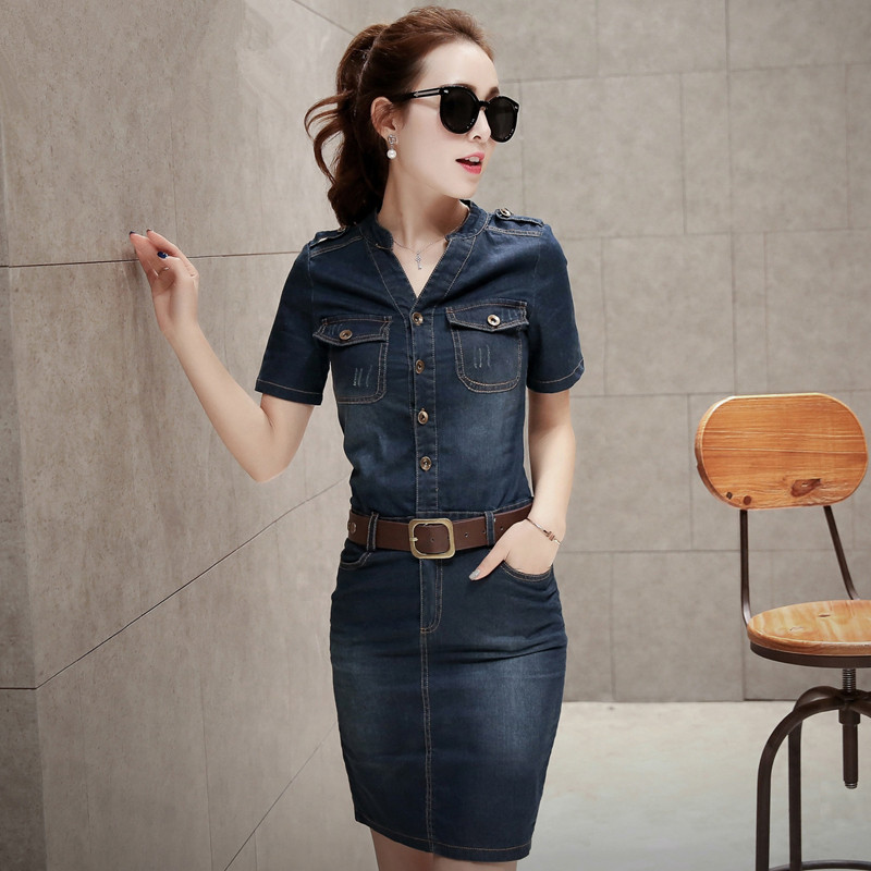 902ca2f50df 2016 new free cut V neck dress women summer jeans knee length vintage denim  shirt ladies fancy dress Vestidos office-in Dresses from Women s Clothing  on ...