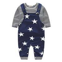 Maomaoleyenda 2017 Baby Pants Sets Stripe T Shirt Top Bib Pants Overall Outfits Newborn Cloth Roupa