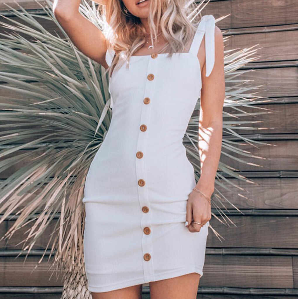 ef520b1f12b White Dress 2019 New Fashion Summer Womens Camisole Pure Color Sundresses  Single Pow Button Bandage Buttock