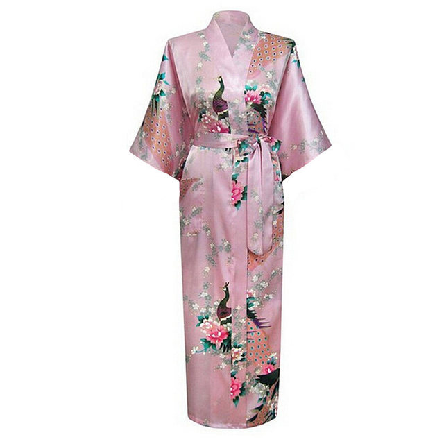 Sexy Rosa das Mulheres Chinesas Seda Rayon Robe Kimono Bath Vestido Longo Verão camisola Mujer Zhc01A Pijama Plus Size S M L XL XXL XXXL
