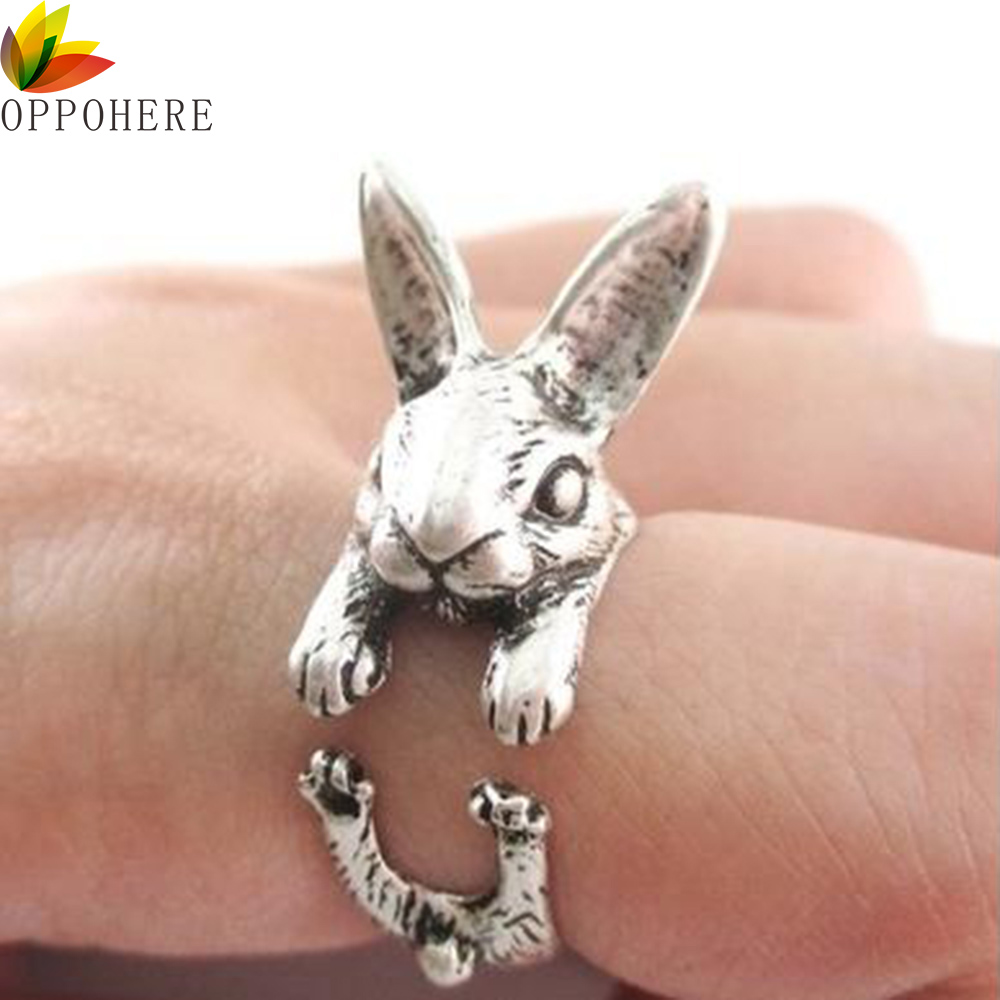 OPPOHERE Супер милое животное кролик кольцо с зайчиком винтажное Обертывание Регулируемый размер шикарные кольца для женщин вечерние кольца