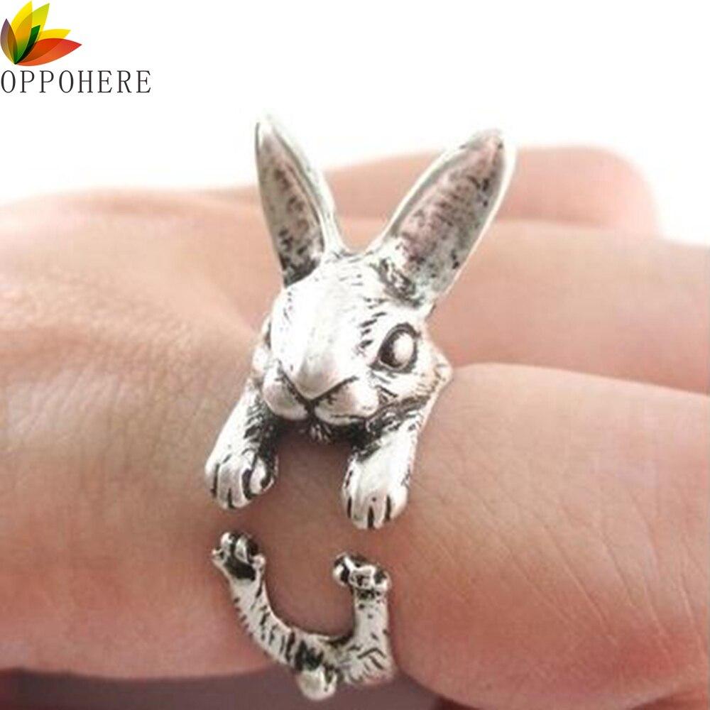 OPPOHERE Супер милые животные кролик Женская винтажная обмотка регулируемый размер шикарные кольца для женщин кольца для вечеринки