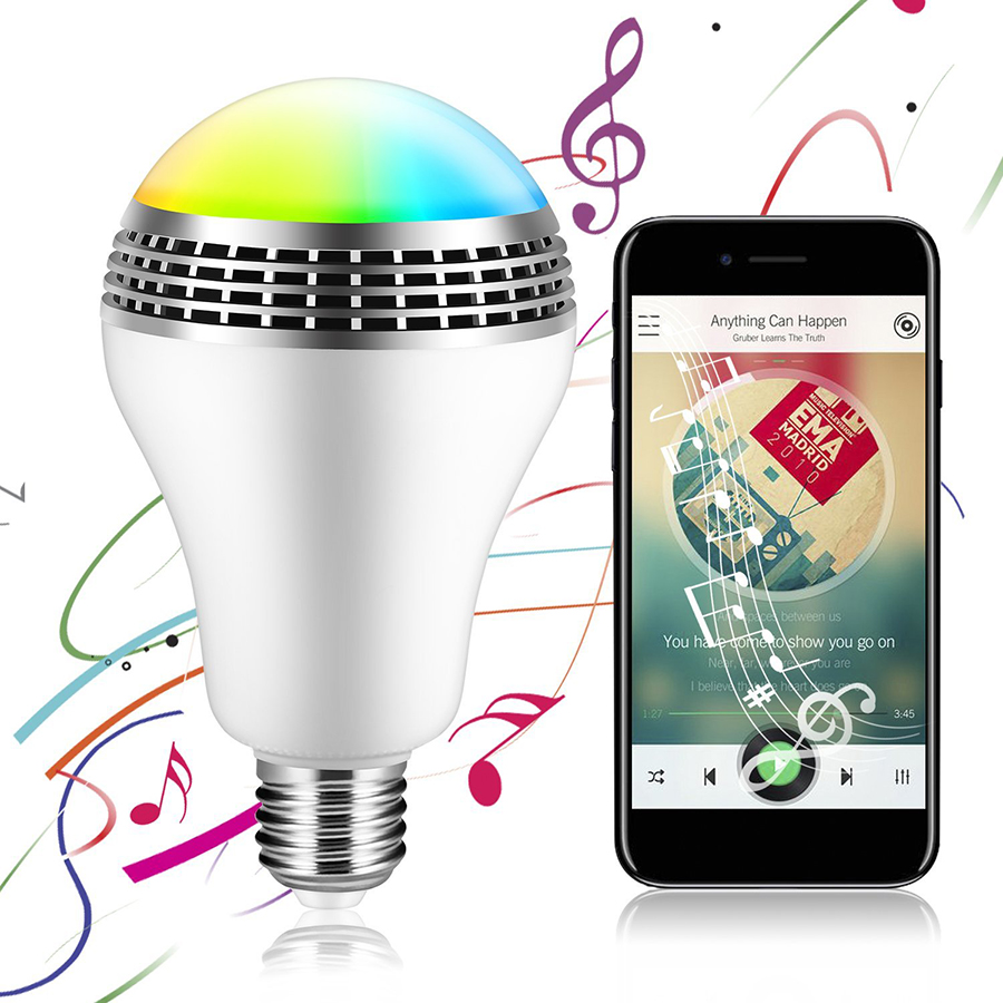 E27 Smart RGB Bulb Wireless Bluetooth 4.0 Audio Speakers LED Bulb Light Dimmable Music Playing LED Lamp via WiFi App Control mipow e27 bluetooth 4 0 smart led bulb wireless app control 100 240v