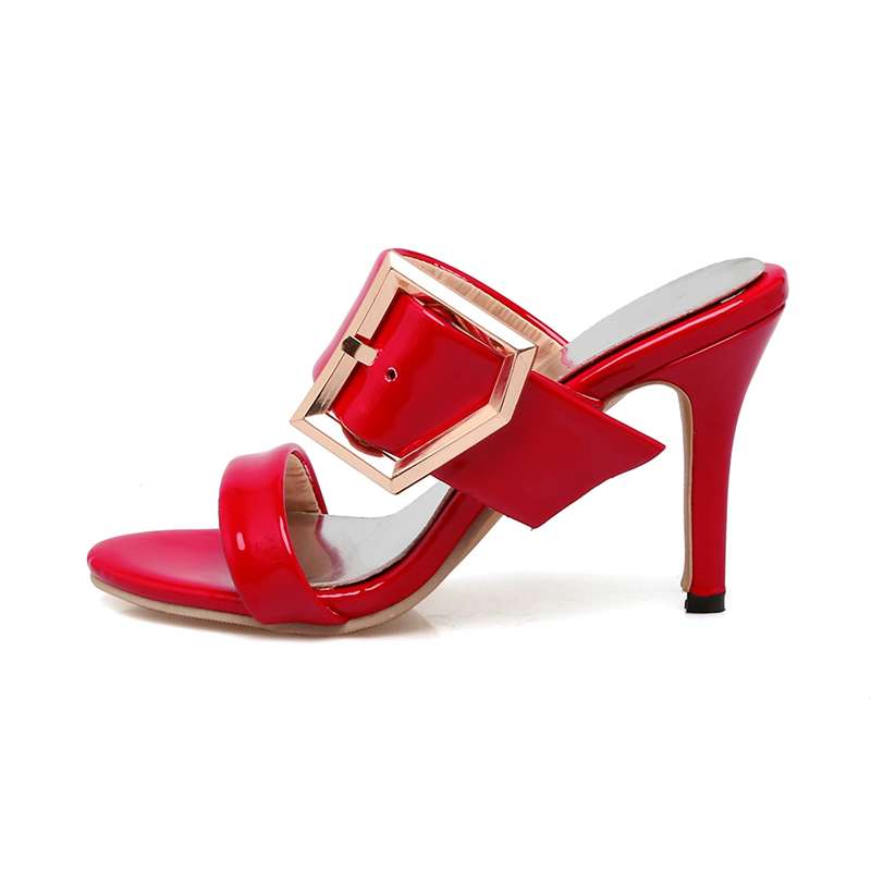 43 Glissement Chaussures Sexy Taille Pompes Mules 2019 blanc Talons rouge Sur Noir Grande Boucle Ribetrini 34 Hauts Partie Femmes D'été Femme wYIgqq7