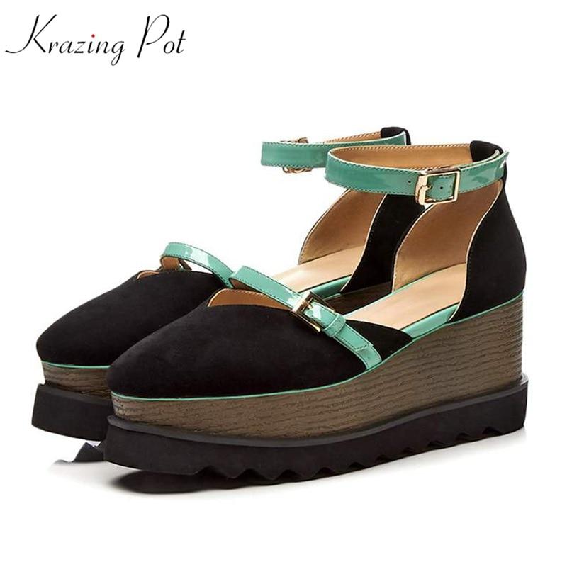 Krazing Pot 2018 kid suede Hollywood star shoes women square toe platform pumps buckle straps wedges increased cozy shoes L28 krazing pot kid suede zip breathable