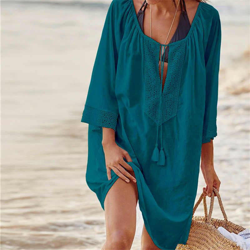 62a1cea2a4b5 Traje de baño playa cubrir hasta 2019 algodón tunic para Playa ...
