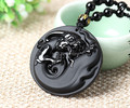 Hot Fashion Natural Black Obsidian Carved Pretty Dragon Lucky Blessing Pendant Free Amulet Necklace Fine Jade Crystal Jewelry