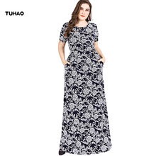 TUHAO בתוספת גודל 6XL 5XL 4xl מקסי ארוך משרד ליידי Vintage שמלות קיץ שמלת רטרו המפלגה אלגנטי התיכון גיל שמלות SJ06