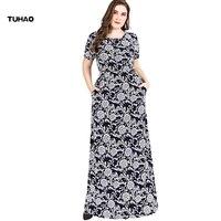 TUHAO Plus Size 6XL 5XL 4xl Maxi Long Office Lady Vintage Dresses Summer Dress Retro Party Elegant Middle Age Dresses SJ06