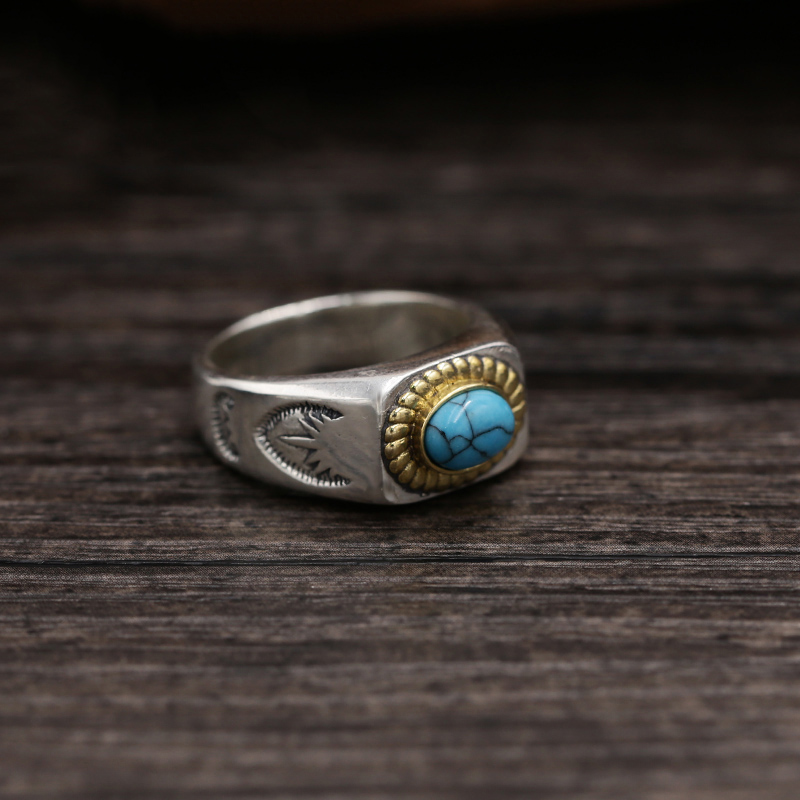 2019 Couple Vintage anneau 100% 925 bijoux en argent Sterling hommes femmes mosaïque bleu pierre amour anneau bisutérus mujer livraison gratuite R026-in Anneaux from Bijoux et Accessoires    3