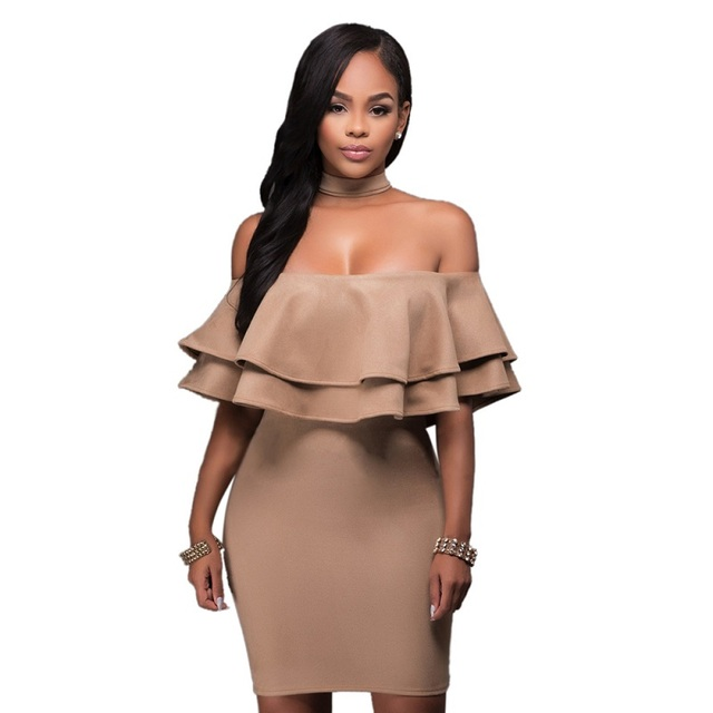 Sexy Dress 2017 Summer Women Halter Sheath Dress Cut Out Off The Shoulder Ruffle Dress Party Club Wear Female Bodycon Vestidos