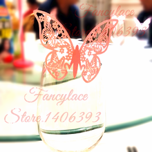 50pcs/lot Pink Butterfly Flower Laser Cut Table Mark Wine Glass Name Place Cards Wedding Birthday Baby Shower Christmas Supplies pink owl printed diaper raffle tickets baby shower games 50 cards