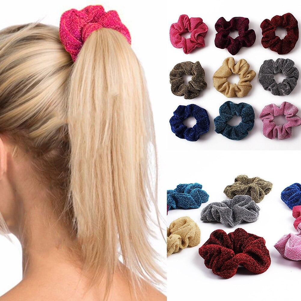 1-10Pc Shiny Metallic Hair Scrunchies Ponytail Holder Elastic Hair Ties Girl