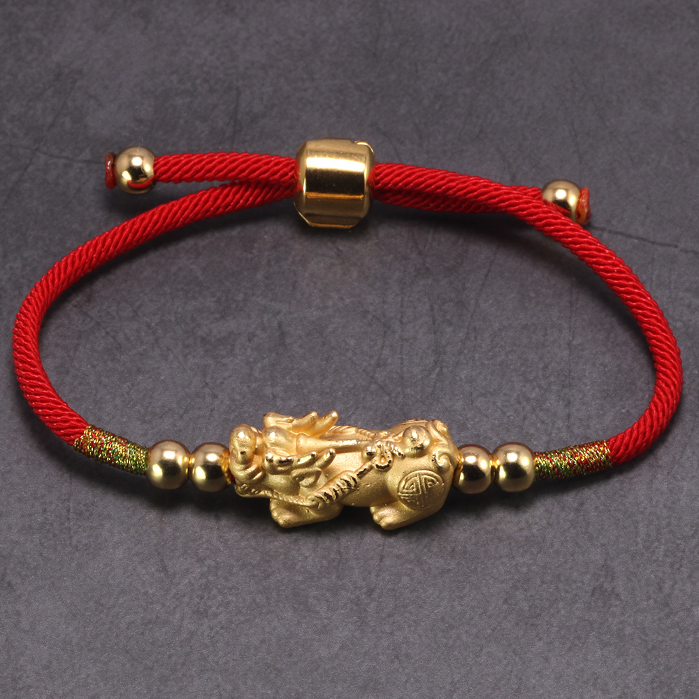 Glück Rote Seil Armbänder 999 Sterling Silber Pixiu Gold Farbe Tibetischen Buddhistischen Knoten Einstellbare Charm Armband Für Frauen