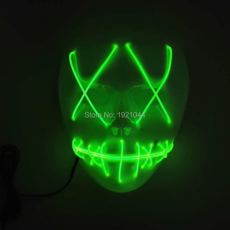 Blinking Color Lemon green Mask EL Wire Glowing Mask Neon Light Mask with Steady on Inverter Party Decorative