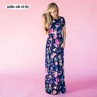 Hot Sale 2017 Summer Autumn Boho Beach Dress Fashion Floral Printed Women Long Dress Short Sleeve