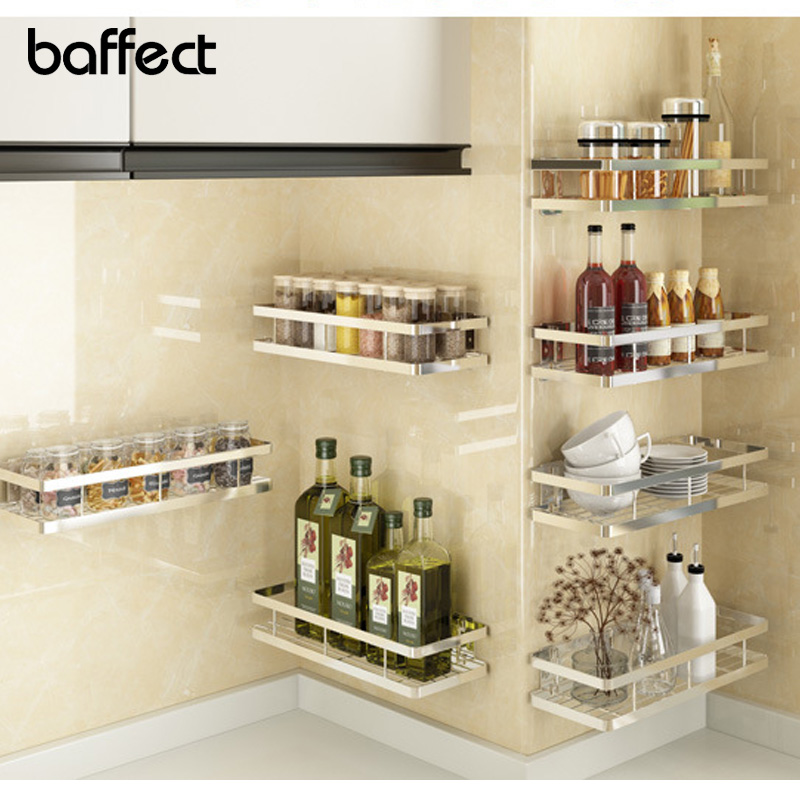 Baffect Wall Shelf Kitchen Storage Punch Free Stainless Steel Spice Rack Kitchen Bathroom Shelves For Storage 6 Size