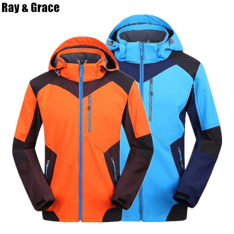 RAY GRACE Spring Autumn Waterproof Outdoor Jacket Soft Shell Windproof Trekking Women Hiking Jackets Men Camping