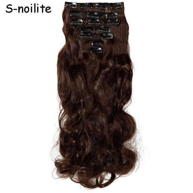 20 Inches 7 Piecesset Medium Brown Long Clip In Full Head Wavy Hair