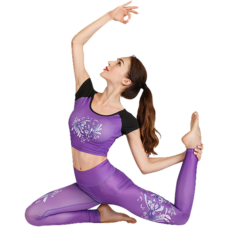2019 hot sale occident yoga set printing sports running fitness dance new professional yoga clothing women gym sets Tops pants in Yoga Sets from Sports Entertainment