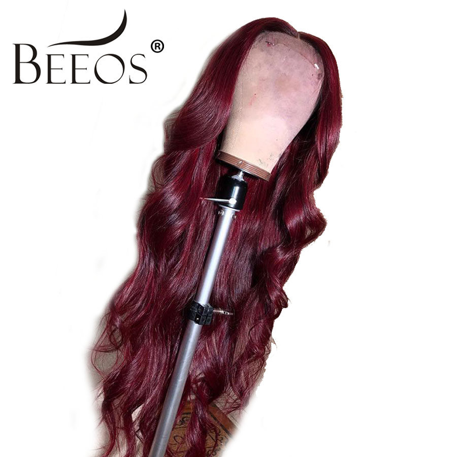 Beeos 13x6 Lace Front Human Hair Wigs 99J Ombre Burgundy Preplucked Brazilian Body Wave Lace Front Wigs Pre Plucked Remy Hair