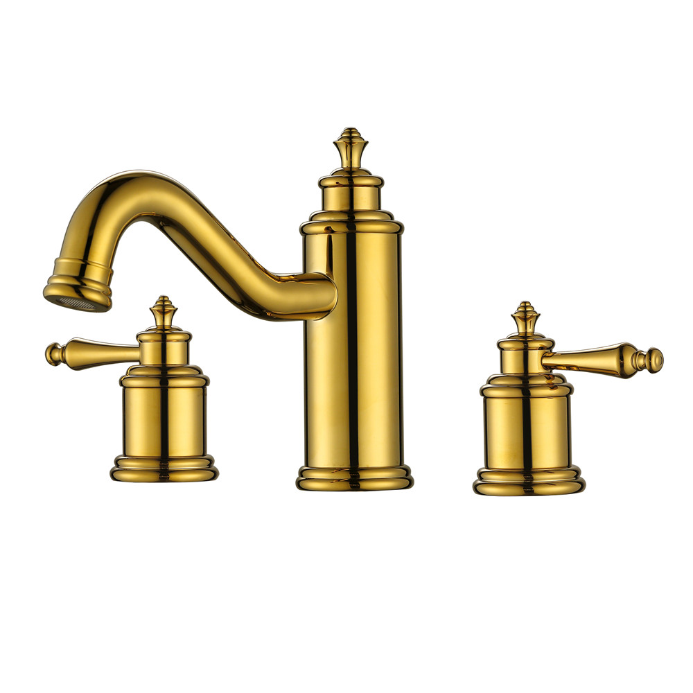 Polished gold bathroom faucets - Luxurious Gold 3 Holes Bathroom Faucets 2017 Rushed New Arrival Patent Design Polished Copper Basin Mixer Taps
