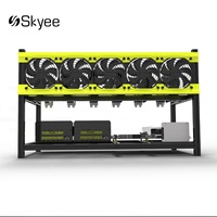 S SKYEE Open Air Mining Rig Stackable Dual Power Frame Case 5 LED Fans For 6