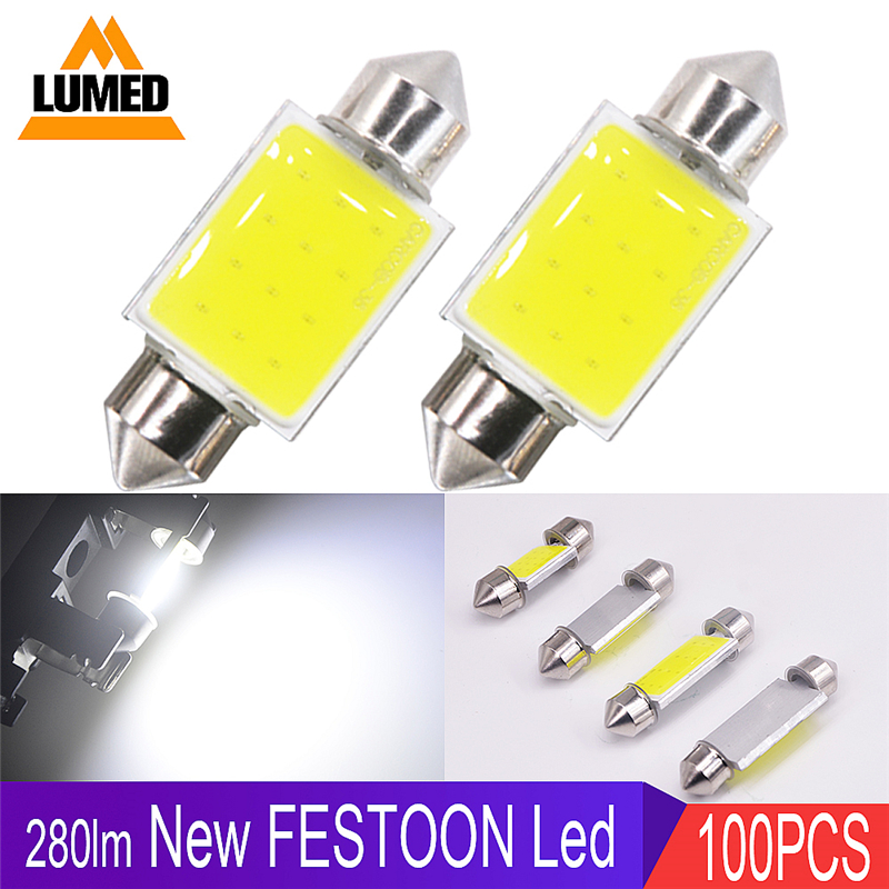 100x C5W LED Car light Bulb LED CANBUS Auto Interior Side light Festoon Dome Reading Lamp
