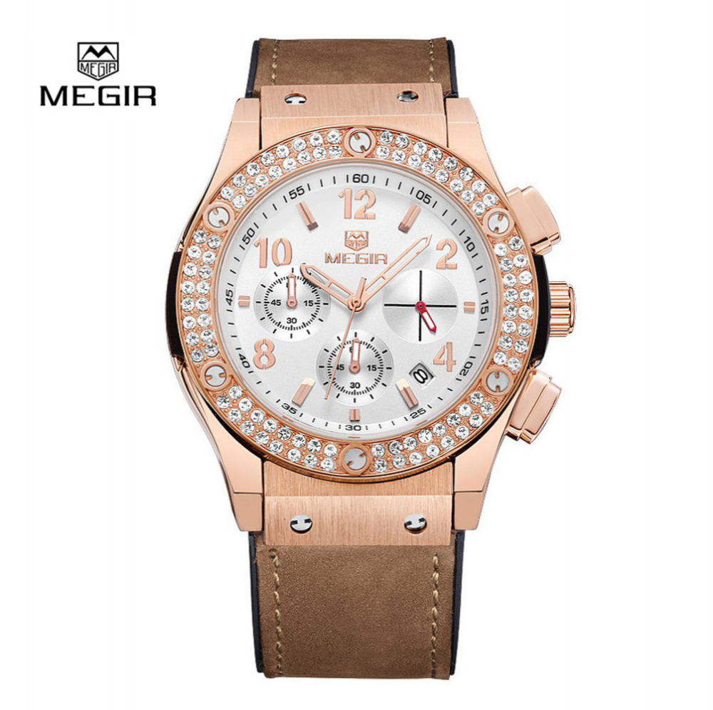 Megir Luxury Brand Design Ladies Watch Women leather silicone strap Bracelet rhinestone Crystal Diamond Quartz watch