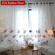 JCyh Embroidered Tulle Curtains For Living Room Bedroom White Sheer Curtains For Window Floral Voile Curtain Drapes Cortina
