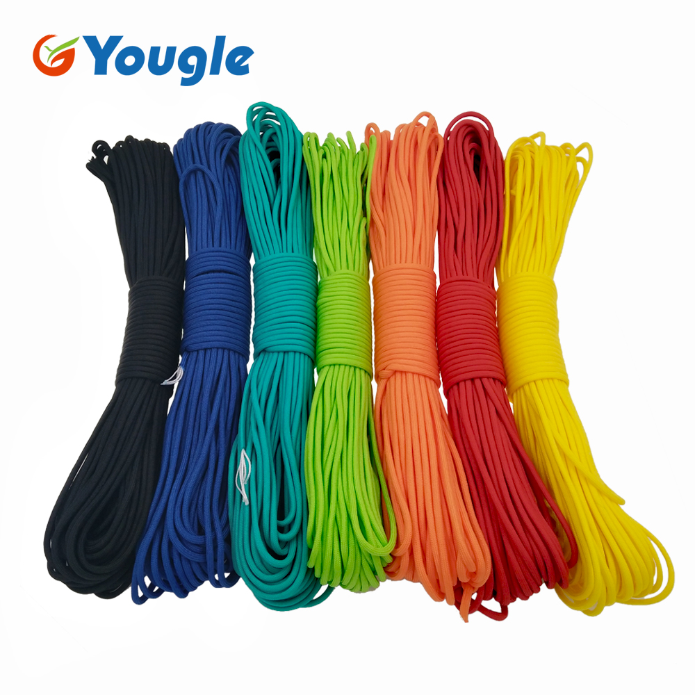 YOUGLE 50-100  Feet 550 Paracord Parachute Cord Lanyard Mil Spec Type III 7 Strand Core Camping hiking emergency survival Cord strong 100 feet 4mm diameter paracord 7 strand parachute cord rope climbing military outdoor activities supplies