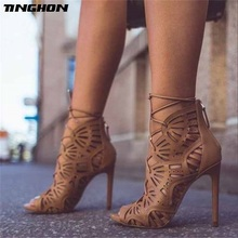 TINGHON  Summer Gladiator Sexy Women Peep toe pumps Hole hollow Cross Strap stiletto sandals Thin high heels shoes woman недорго, оригинальная цена