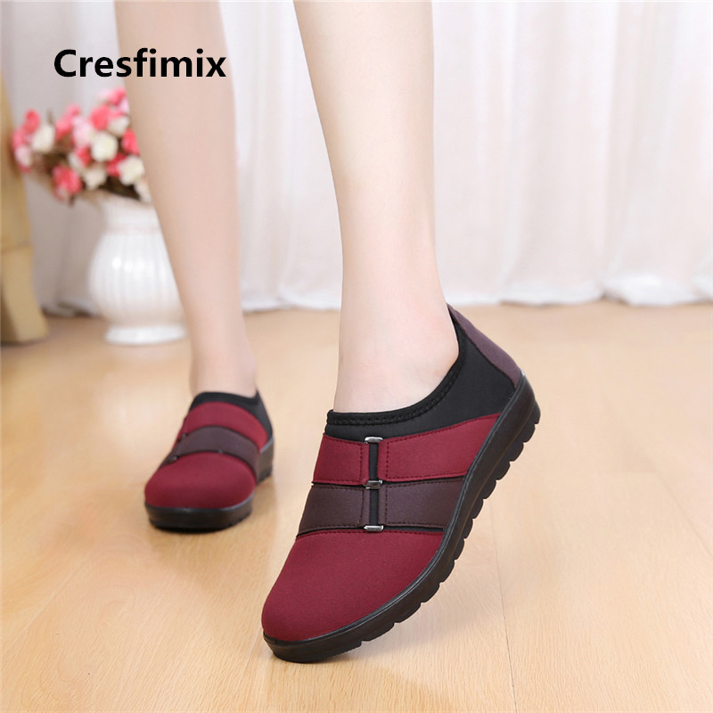 Cresfimix women fashion spring & summer slip on flat shoes lady cute comfortable pattern shoes female retro plus size shoes a464 spring summer flock women flats shoes female round toe casual shoes lady slip on loafers shoes plus size 40 41 42 43 gh8