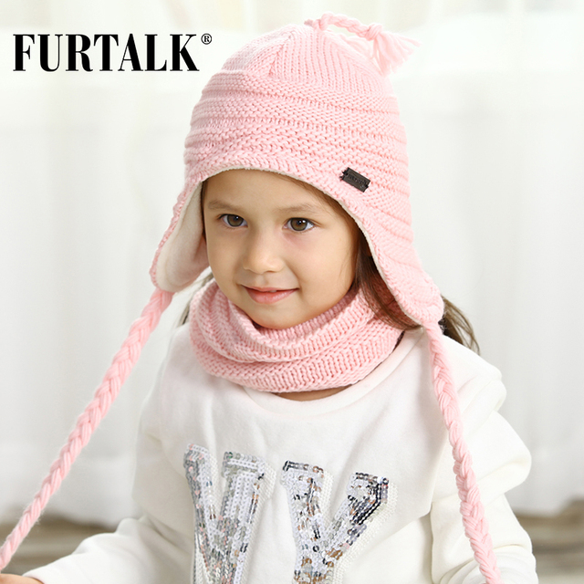 FURTALK Children Winter Hat Scarf Set for Girls and Boys Kids Knitted Hats Earflap B021