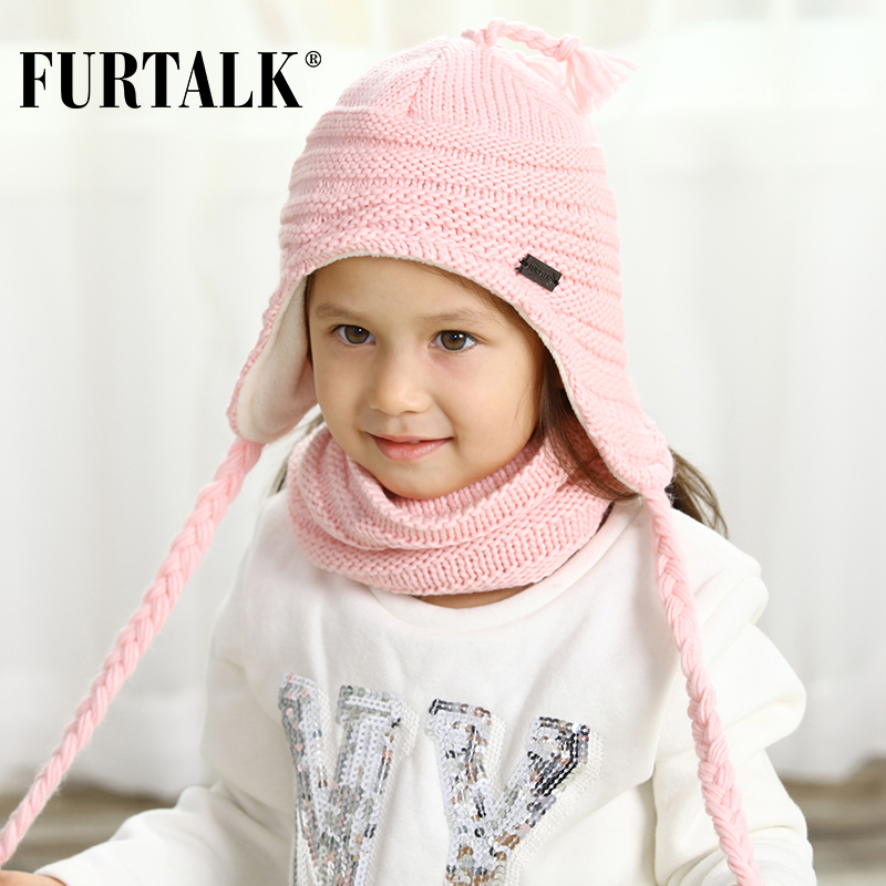FURTALK Children Winter Hat With Ears Girls Boys Pompom Hat Scarf Set For Baby Kids Knitted Earflap Hats Pink White Black Cap