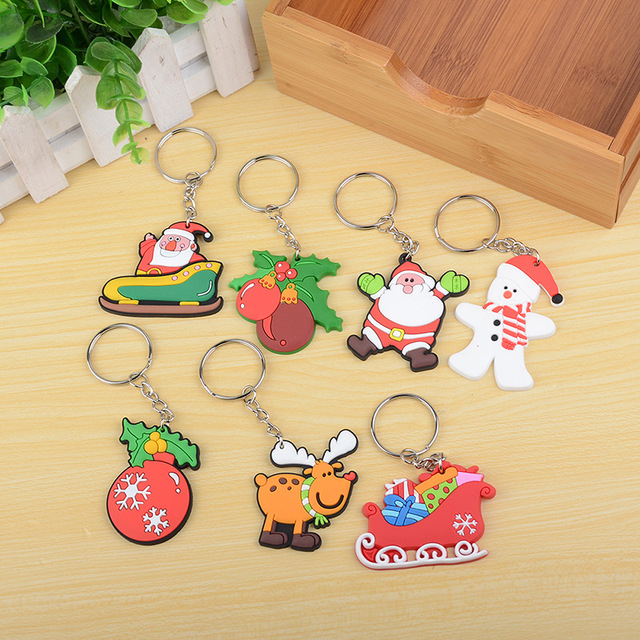 1PC Cute Christmas Pendant Decorations Gifts Cartoon Key Holder Santa Claus Soft Rubber Keychain Party Favor Ornaments Xmas Gift