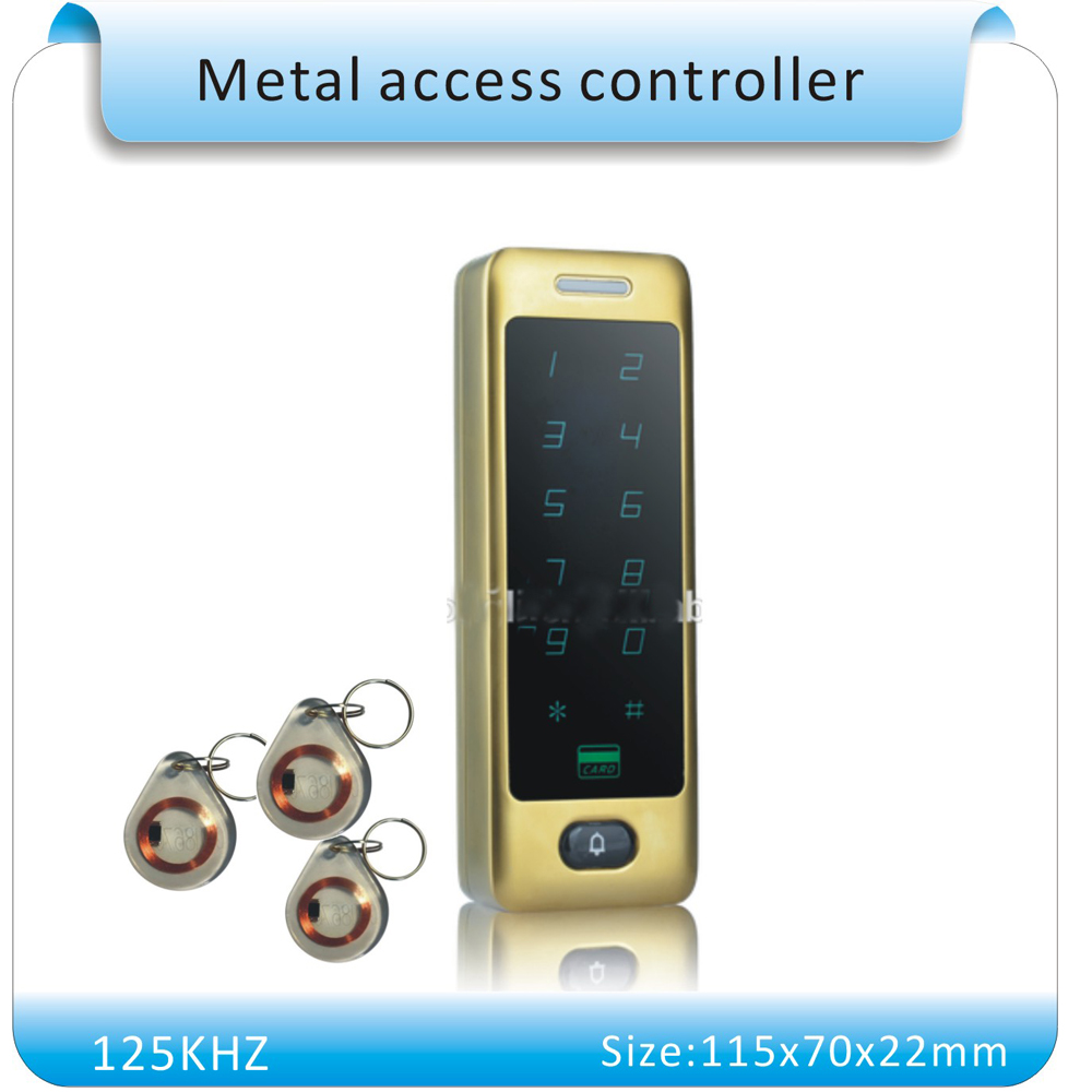 2016 newest metal case  touch  keypad 125KHZ RFID access control system/door lock controller +10pcs crystal keyfob metal shell touch keyboard 125khz rfid access control system entrance guard password and rfid 10pcs crystal keyfob