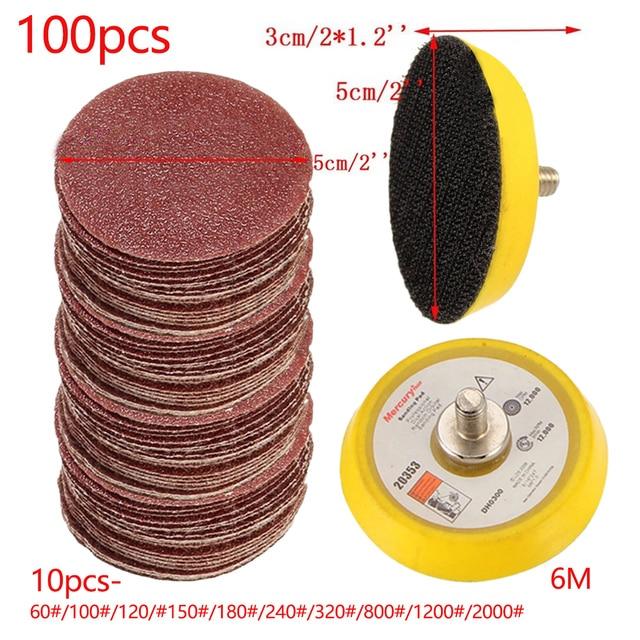 100 pièces ponçage tampon polissage ponceuse disque 50mm 60 2000 grain papier + 1pc crochet boucle plaque ajustement Dremel 4000 électrique meuleuse Abrasive