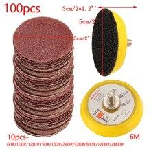Disco de lixadeira de polimento da almofada de 100 pces 50mm 60 2000 grit papel + 1pc gancho placa de laço caber dremel 4000 moedor elétrico abrasivo