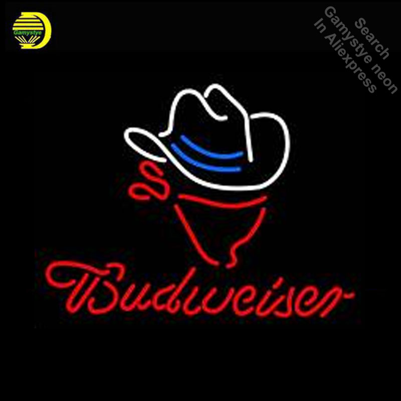 Budweise Cowboy Hat Neon Sign Neon Bulbs Sign GLASS Tube Handcraft Neon Light Signs Advertise Cool Vintage Lamps Dropshipping