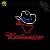 Chapéu de Cowboy Budweise Lâmpadas Sinal de Néon Neon Tubo DE VIDRO Artesanato Sinais da Luz de néon Sinal Anunciar legal do vintage lâmpadas Dropshipping