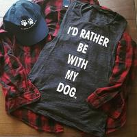 Tank Crop Top Women 2017 Cropped I D Rather Be With My Dog Letters Printed Crewneck
