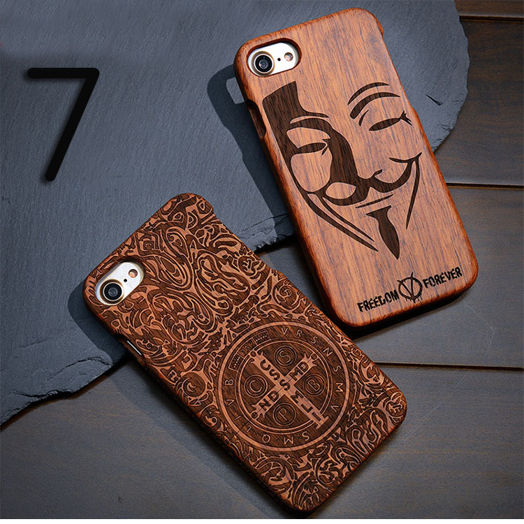 Hot Sale Retro Bamboo Wood Skull Carving Case for <font><b>iPhone</b></font> 7 Novelty Wooden Case Cover for <font><b>iPhone</b></font> 7 plus Customized