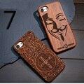 Venda quente retro crânio carving caso de madeira de bambu para iphone 7 novidade caso de madeira capa para iphone 7 plus personalizado