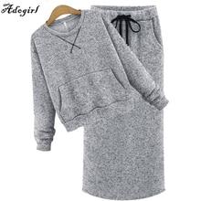 Adogirl Casual Sweater Skirt Set Fashion Autumn Winter Long Sleeve High Waist Knit Women 2 piece Skirt Sets Tracksuit navy blue