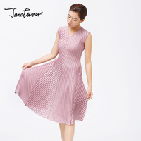 Fold all match temperament light luxury large size women dress color pleated dresses free shipping