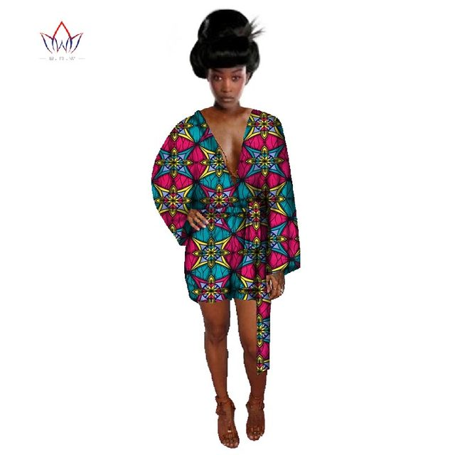 8c9030f896f 2017 Rompers Womens Jumpsuit Summer Traditional African clothing Dashiki  Print Pattern Deep V Shorts Plus Size BRW WY052