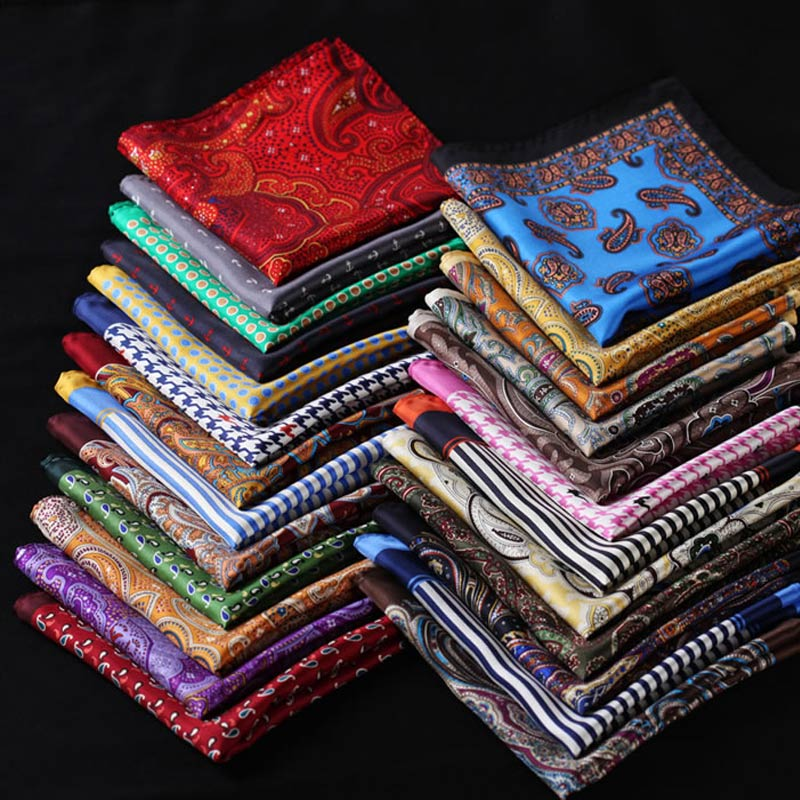 Wholesale ( 50 Pieces / Lot ) 25CM Mens 100% Silk Handkerchiefs Floral Plaid Stripes Jacquard Polka Pocket Squares Wedding Party