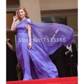Stunning Purple One-shoulder Slit Celebrity Dresses Cannes Film Festival Red Carpet Dress Evening Dresses XY267