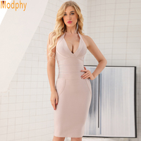 Women dresses evening party sexy club halter deep v neck pockets knee length bodycon bandage tight winter clothes dropship D128